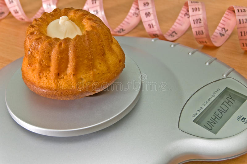 Cupcake on weight scale.