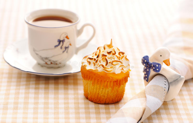 Cupcake with whipped cream stock photos