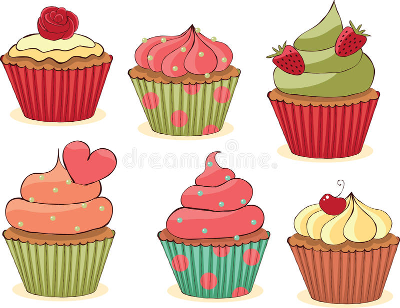 cupcakes θέστε περιγραμματικός ελεύθερη απεικόνιση δικαιώματος