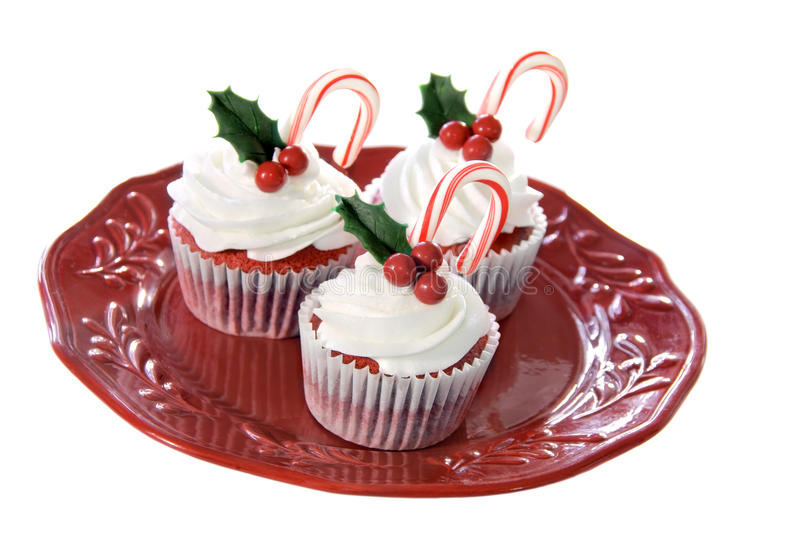 cupcakes κόκκινο βελούδο στοκ εικόνες