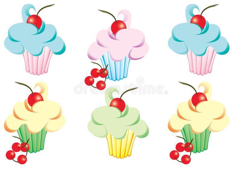 Cupcakes με την τήξη και τα κεράσια στοκ εικόνα