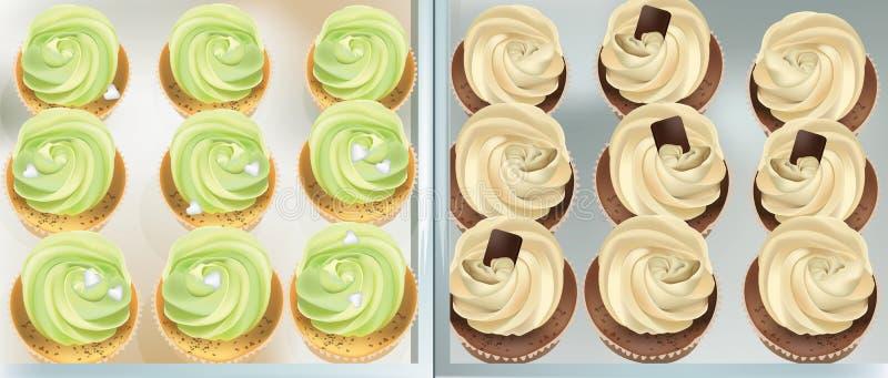 Cupcakes σε έναν άσπρο πίνακα Muffins χρώματος και βανίλιας πρασινάδων θερινών εύγευστα επιδορπίων απεικόνιση αποθεμάτων