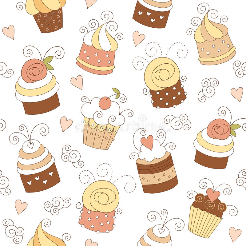 cupcakes χαριτωμένο πρότυπο άνευ ρ ελεύθερη απεικόνιση δικαιώματος