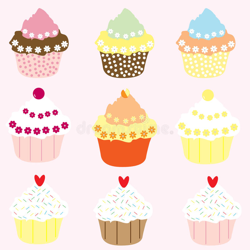 Cupcakes. Selection of 9 pretty cup cakes on a pink background, vector stock illustration