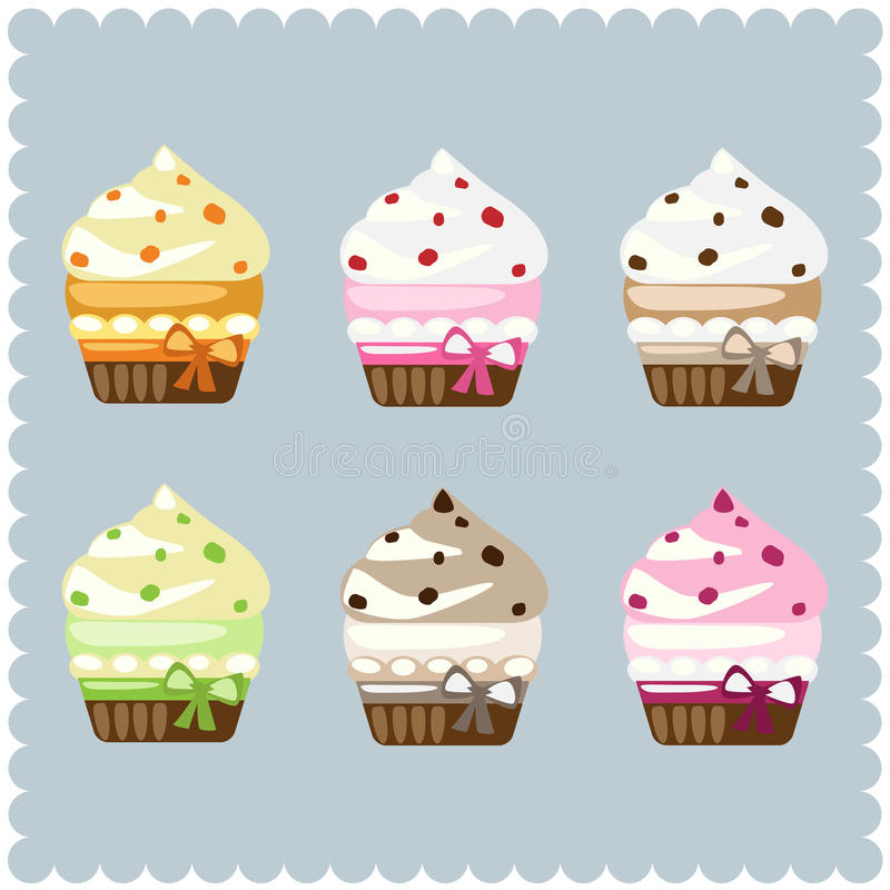 Cupcakes. Set of six colorful cupcakes isolated on gey background.EPS file available royalty free illustration