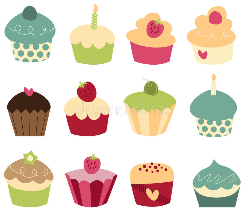 Cupcakes. Set of 12 cute cupcakes. (Vector file included royalty free illustration