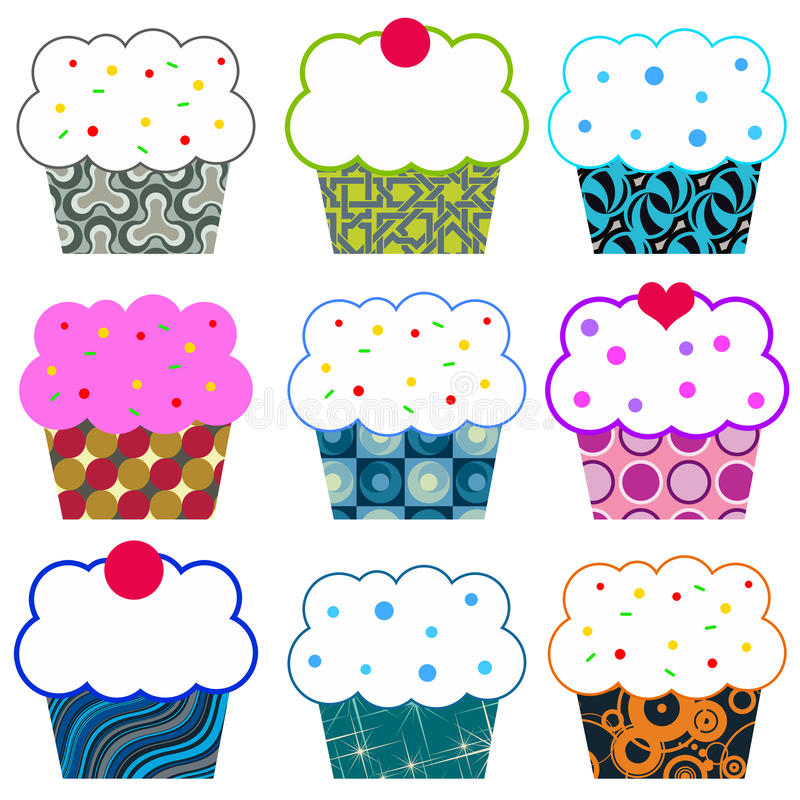Cupcakes. Tasty cupcakes in different colors and with different patterns royalty free illustration