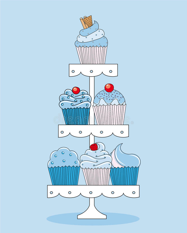 Cupcakes. A selection of delicious cupcakes and muffins presented on multi-tiered display stand stock illustration