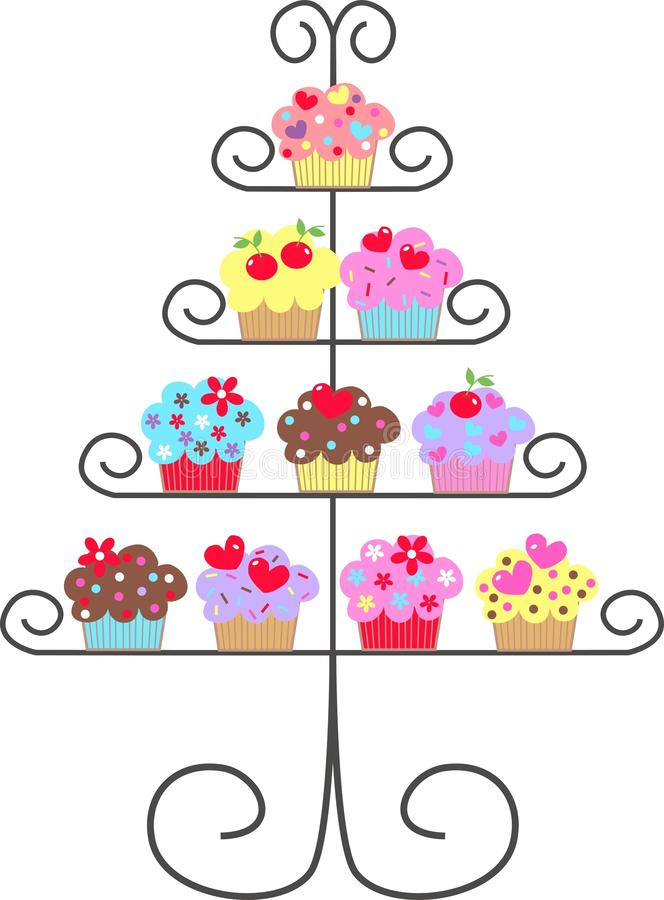 Cupcakes. Lot of colourful delicious cupcakes on plates royalty free illustration