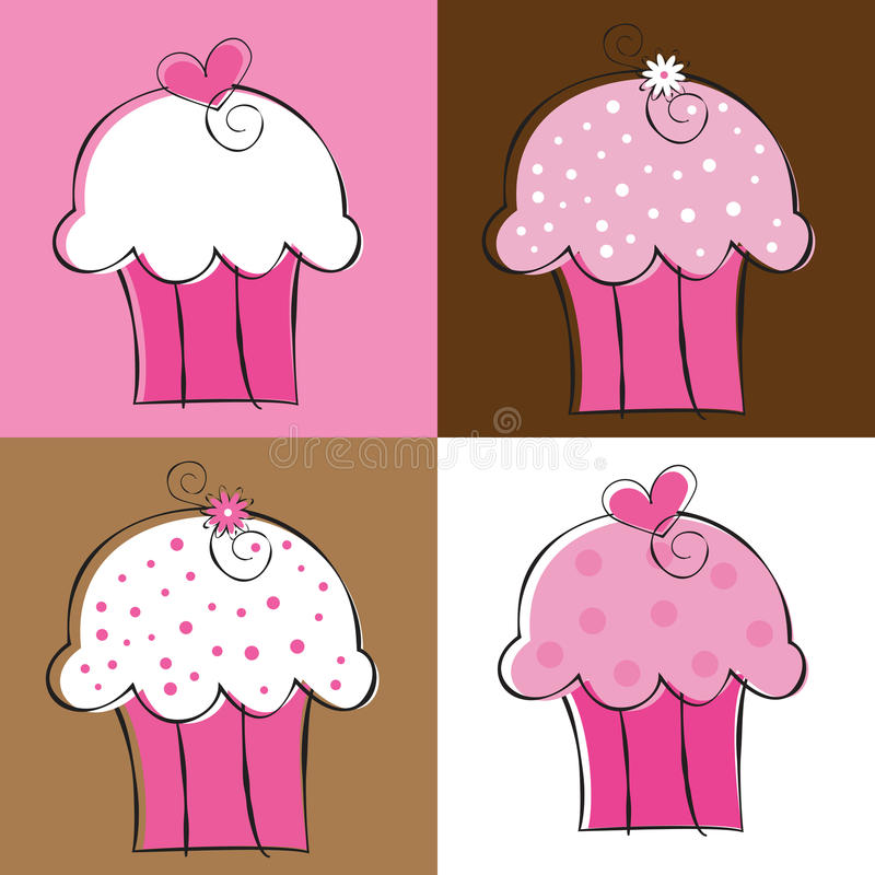 Cupcakes. Cute fancy birthday party cupcakes royalty free illustration