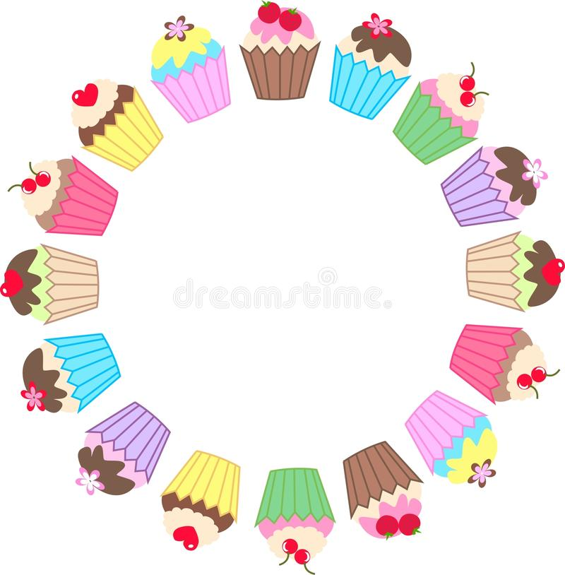 Cupcakes. Illustration of a frame of colourful delicious cupcakes stock illustration