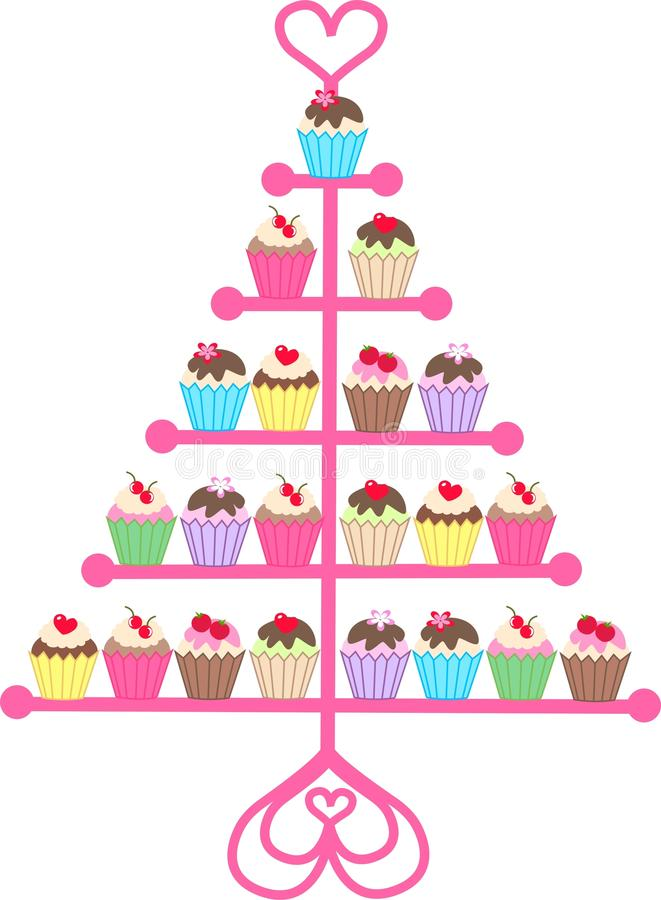 Cupcakes. Illustration of colourful cupcakes on a stand royalty free illustration
