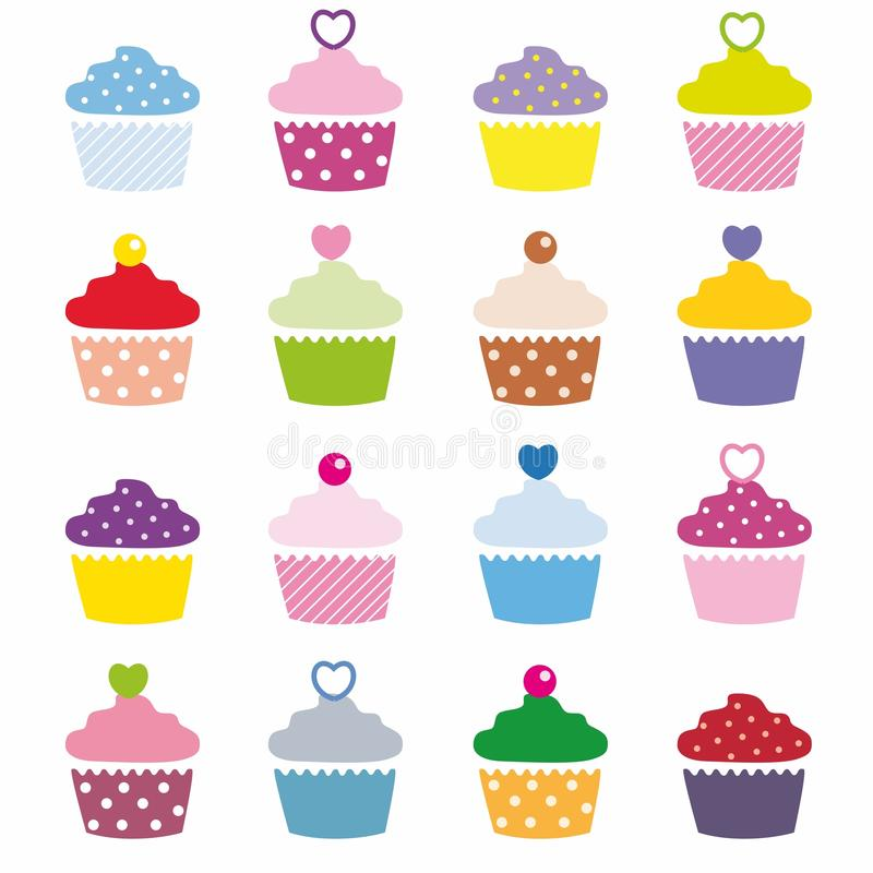 Cupcakes. A selection of delicious cupcakes vector illustration