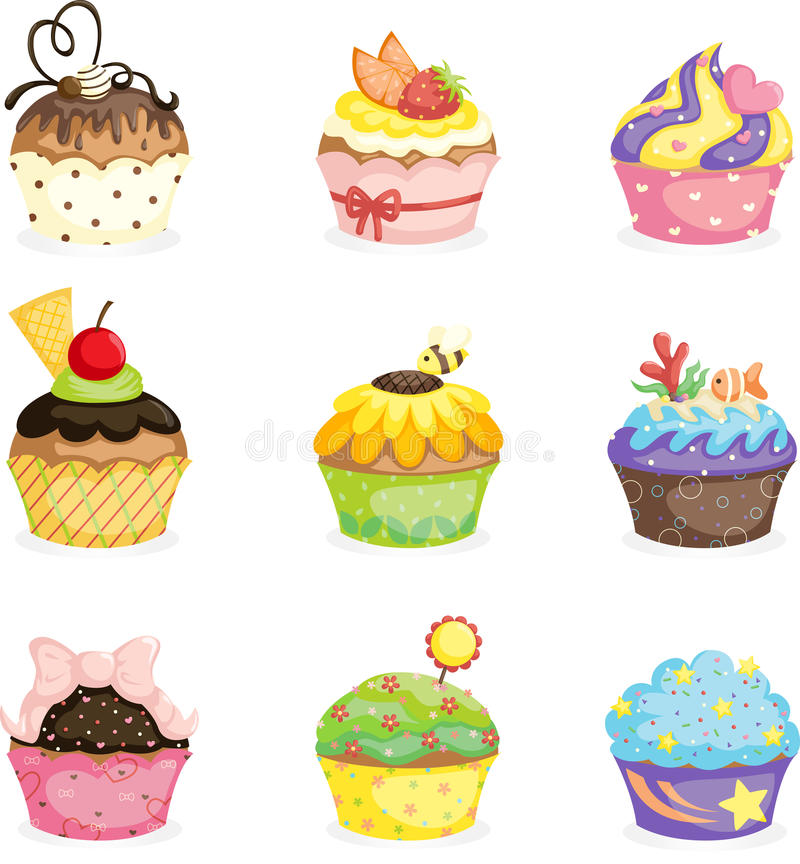 Cupcakes. A vector illustration of different cupcakes designs vector illustration