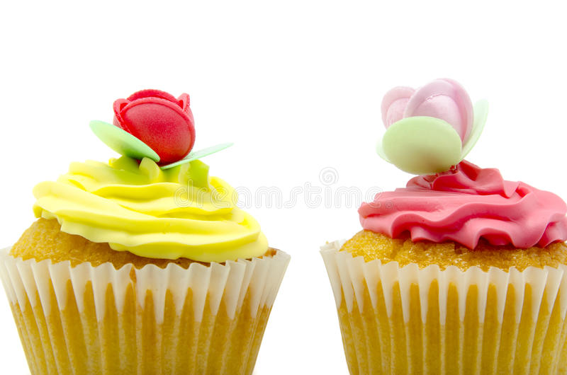 Cupcakes. A colorful cupcake on white background royalty free stock images