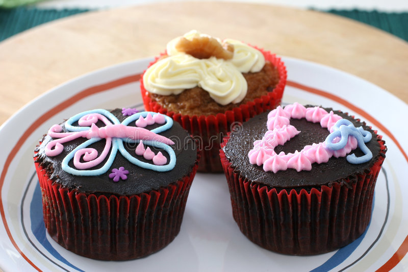 Cupcakes. Fancy carrot and chocolate cupcakes with icing design on top stock photography