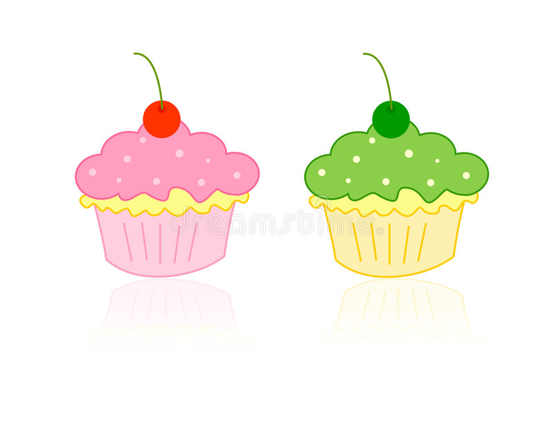 Cupcakes. Cute cupcakes illustration...with cherries to decorate your party stock illustration