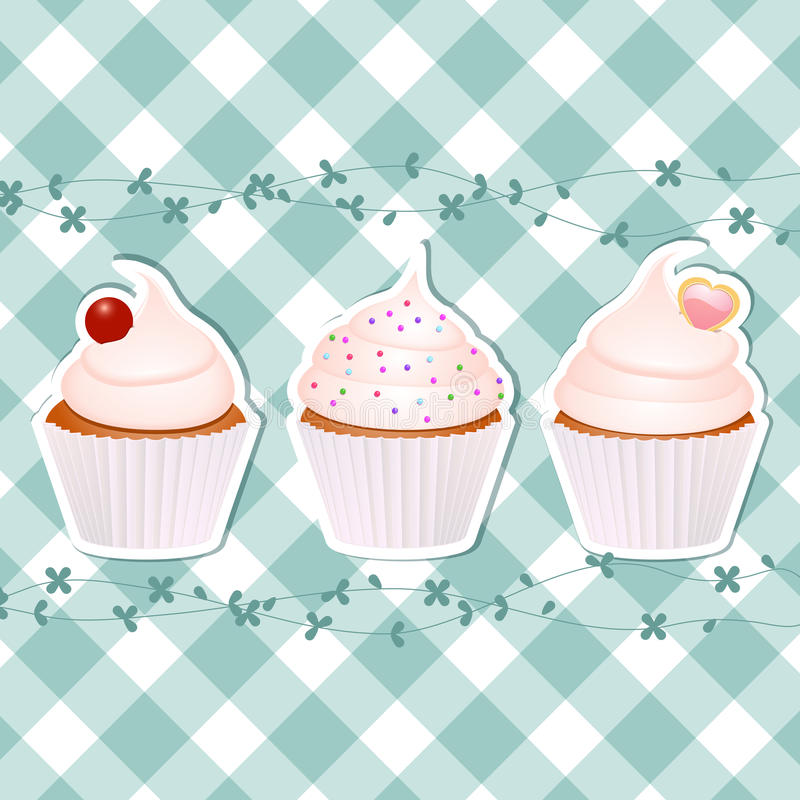Cupcakes on blue gingham royalty free illustration