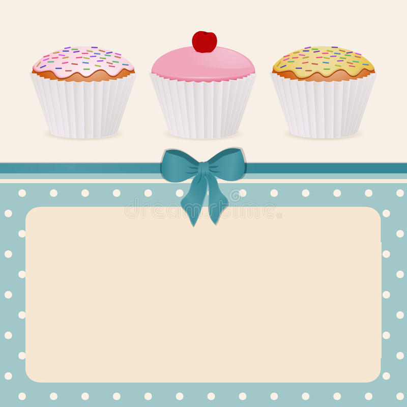 Cupcakes on blue polka dot background royalty free illustration