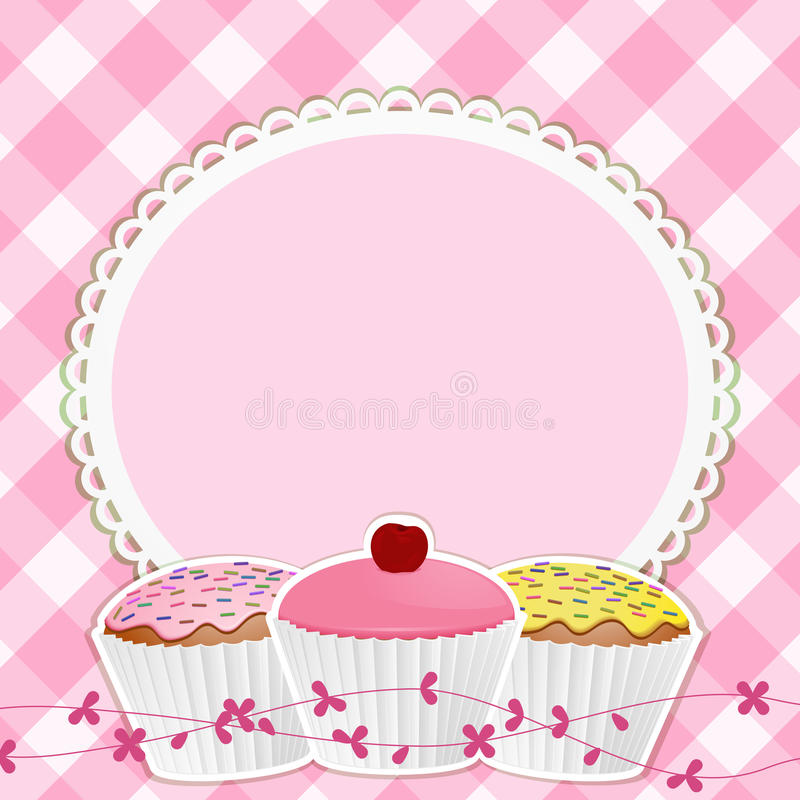 Cupcakes and border on pink gingham royalty free illustration