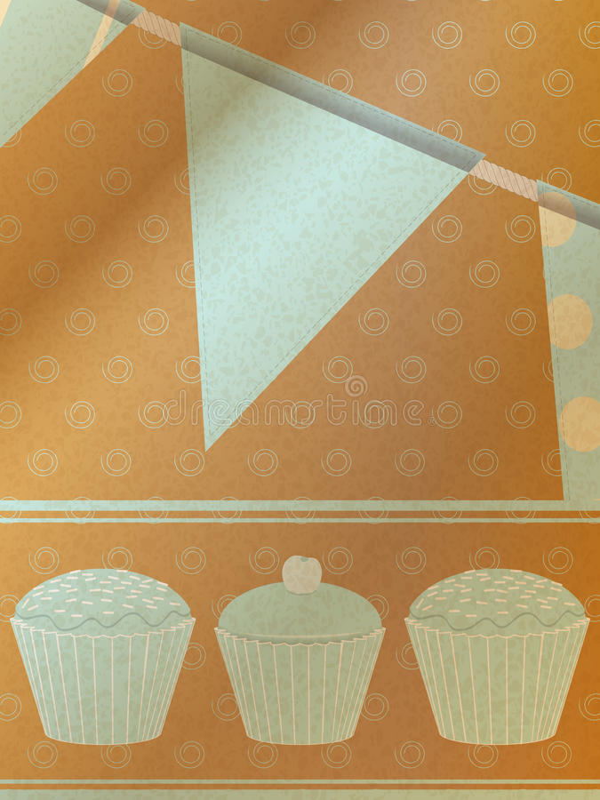 Cupcakes and bunting over brownpaper background vector illustration