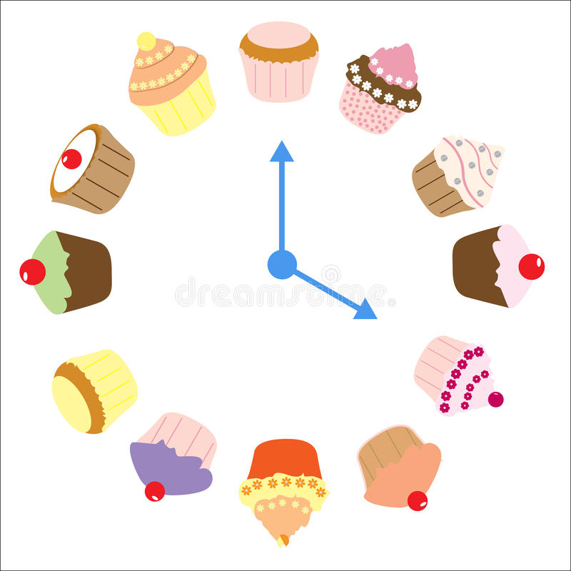 Cupcakes Clock. Clock made of cupcakes and fairy cakes with hands pointing to 4 o'clock isolated on a white background as time for tea concept, vector vector illustration