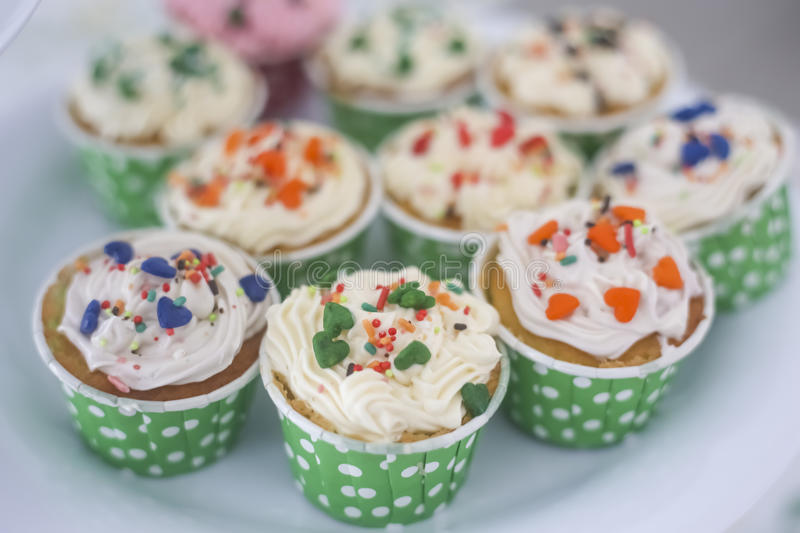 Cupcakes topview and Colorful Cupcakes royalty free stock images