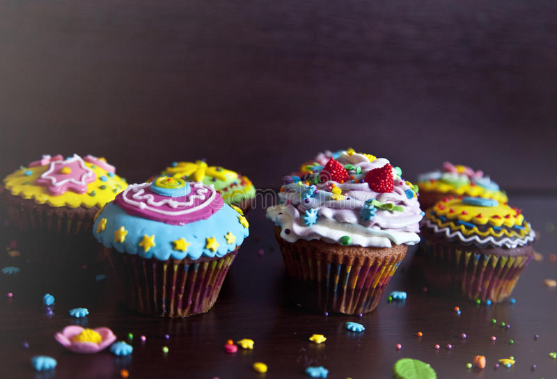 Cupcakes with cream hat cake royalty free stock photography