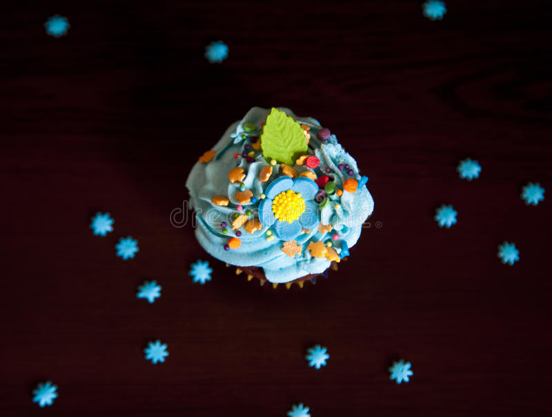 Cupcakes with cream hat caken stock photo