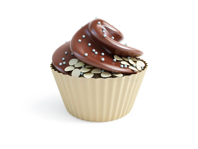 Cupcakes 3d. On a white background stock illustration