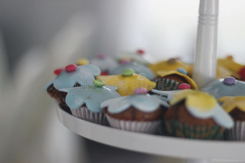 Cupcakes with decoration stock photography