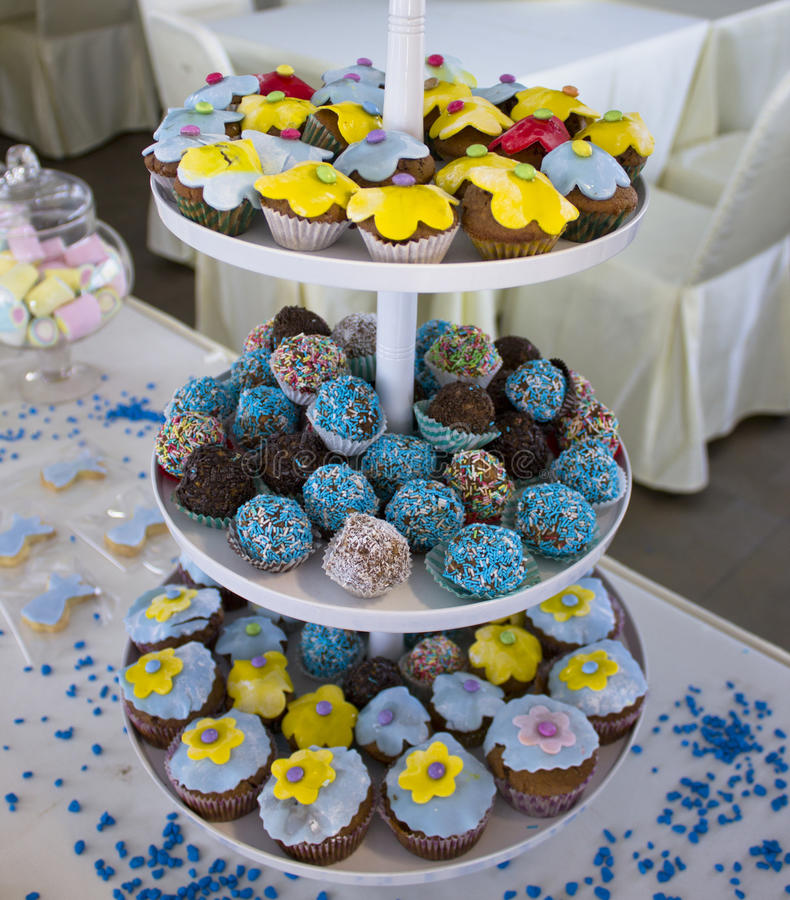 Cupcakes with decoration stock image