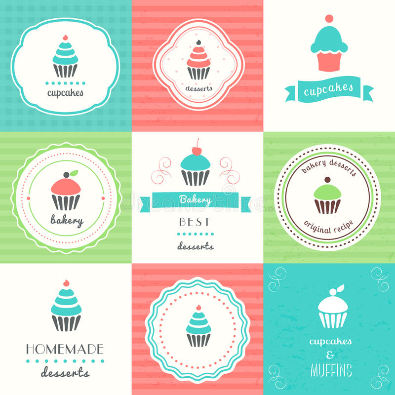 Cupcakes and Desserts Labels and Signs. Set vector illustration