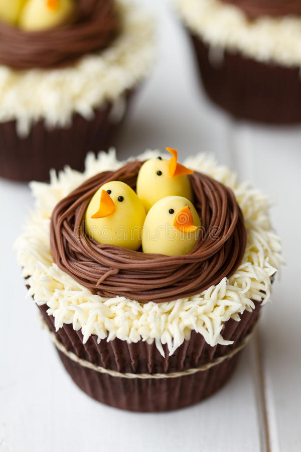 Easter chick cupcakes. Cupcakes with an Easter theme royalty free stock photos