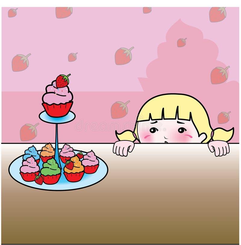 Cupcakes en aardbeiachtergrond royalty-vrije stock afbeeldingen