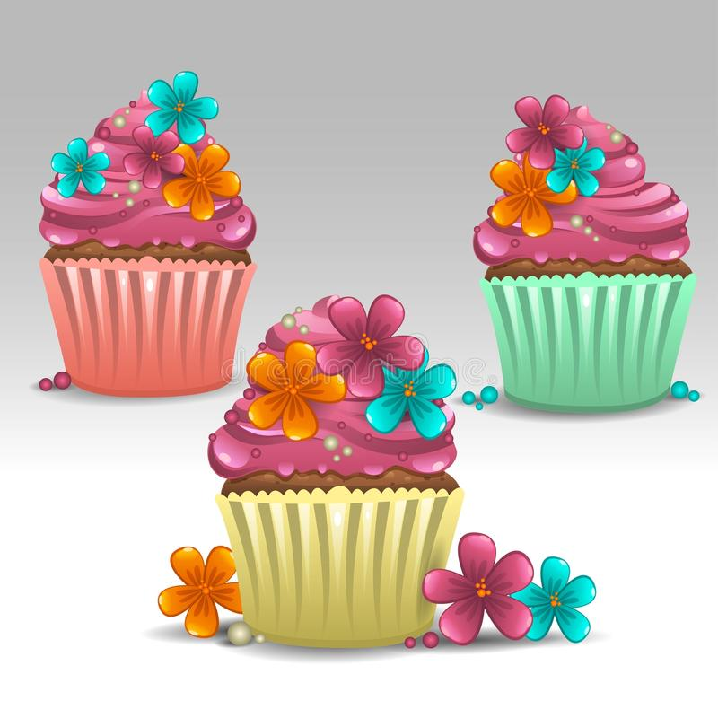 Cupcakes flower. Illustration of cupcakes flower icons vector illustration