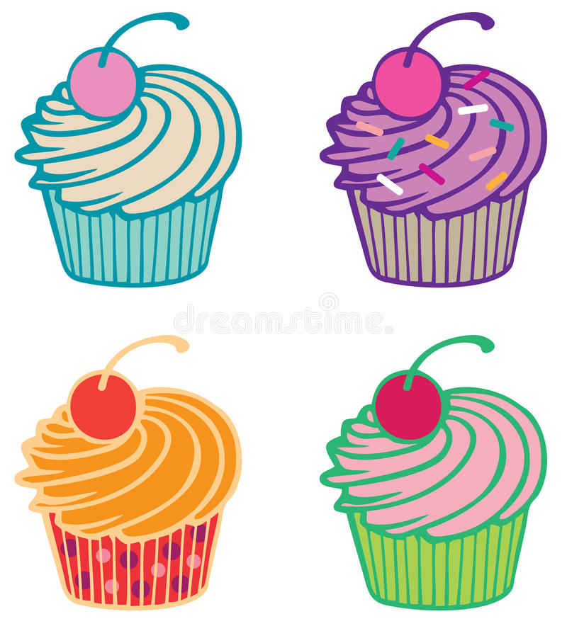 Download Cupcakes stock vector. Image of sprinkles, desert, cherry - 31576409