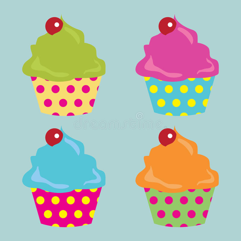 Cupcakes. Four cupcakes in various colors. Eps10 vector format stock illustration