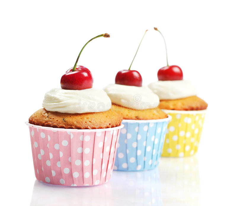 Download Cupcakes  With Fresh Cherry Stock Photo - Image: 31649058