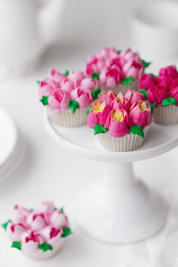 Cupcakes frosted with Russian piping tips royalty free stock photo
