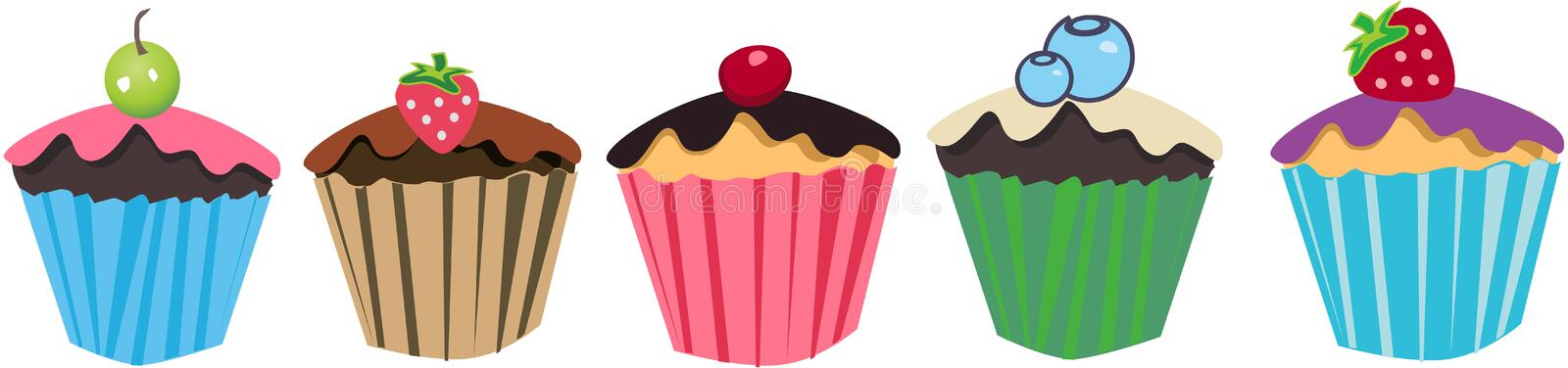 Cupcakes with fruits. Colorful retro Ice Cream scoops with fruits vector illustration