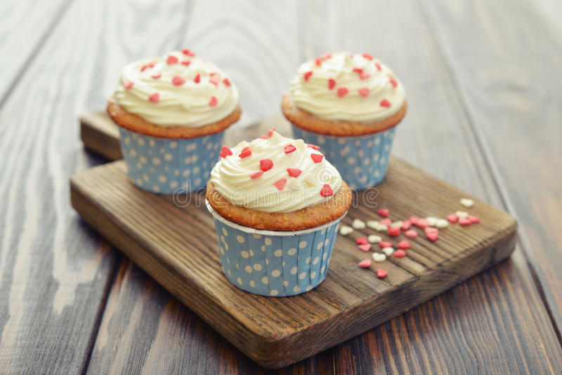Download Cupcakes with icing stock photo. Image of three, pink - 39988830