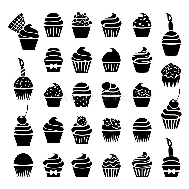 Vector cupcakes icons. Vector black and white cupcakes icons royalty free illustration