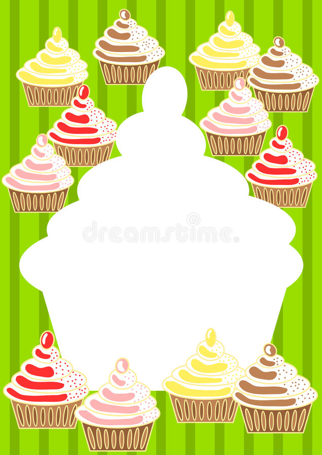 Cupcakes Invitation Card. Invitation card with cupcakes and green stripes stock illustration