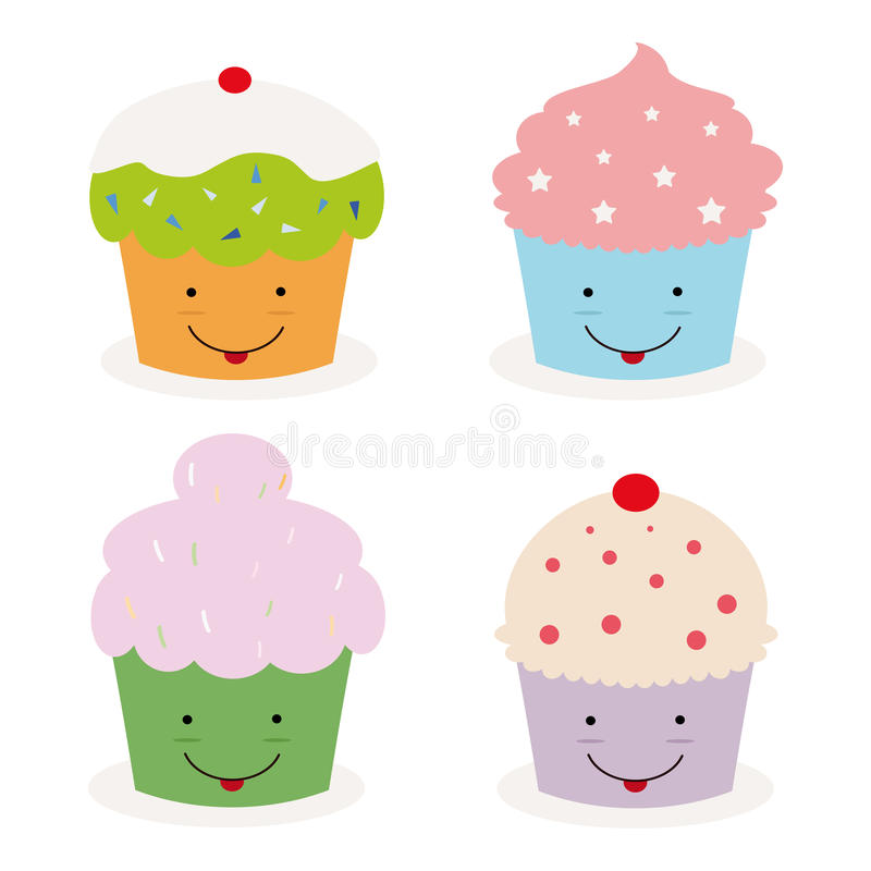 cupcakes kawaii ελεύθερη απεικόνιση δικαιώματος