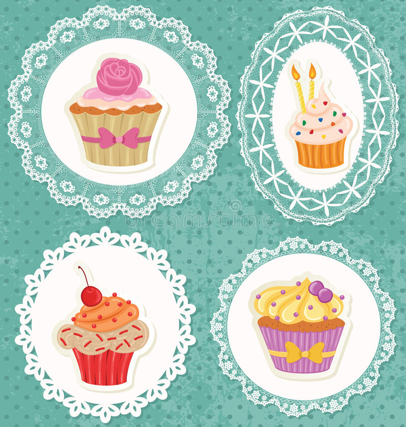 Cupcakes on Laces. Frames on polka dot grunge wallpaper vector illustration