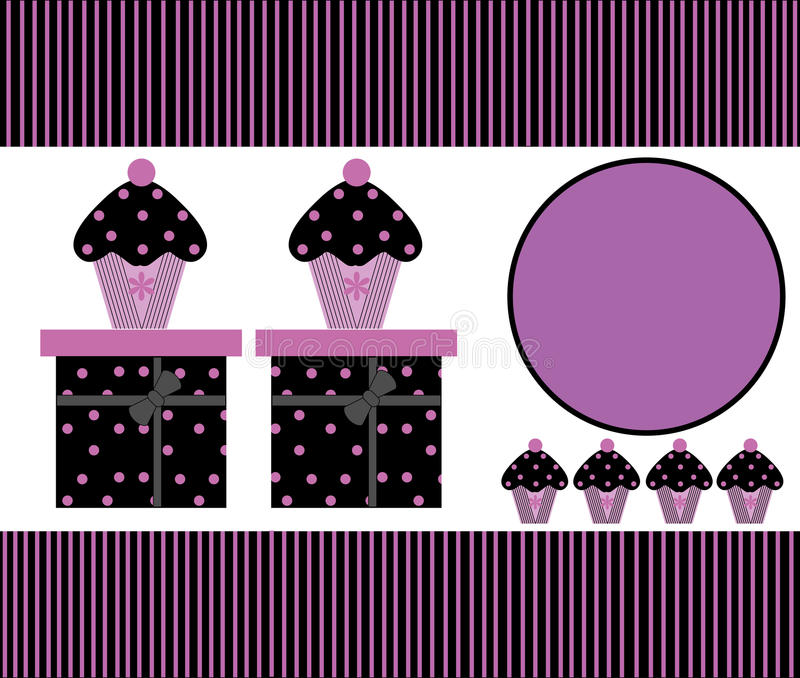 Cupcakes & Luxury Gift Boxes. Luxury cupcakes teacakes and gift boxes in black and purple stripes and polka dots, ideal as template for greeting card or business royalty free illustration