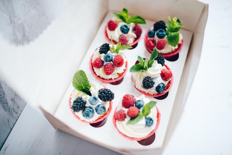 Cupcakes met room, bessen wordt verfraaid en miny in doos die royalty-vrije stock afbeeldingen