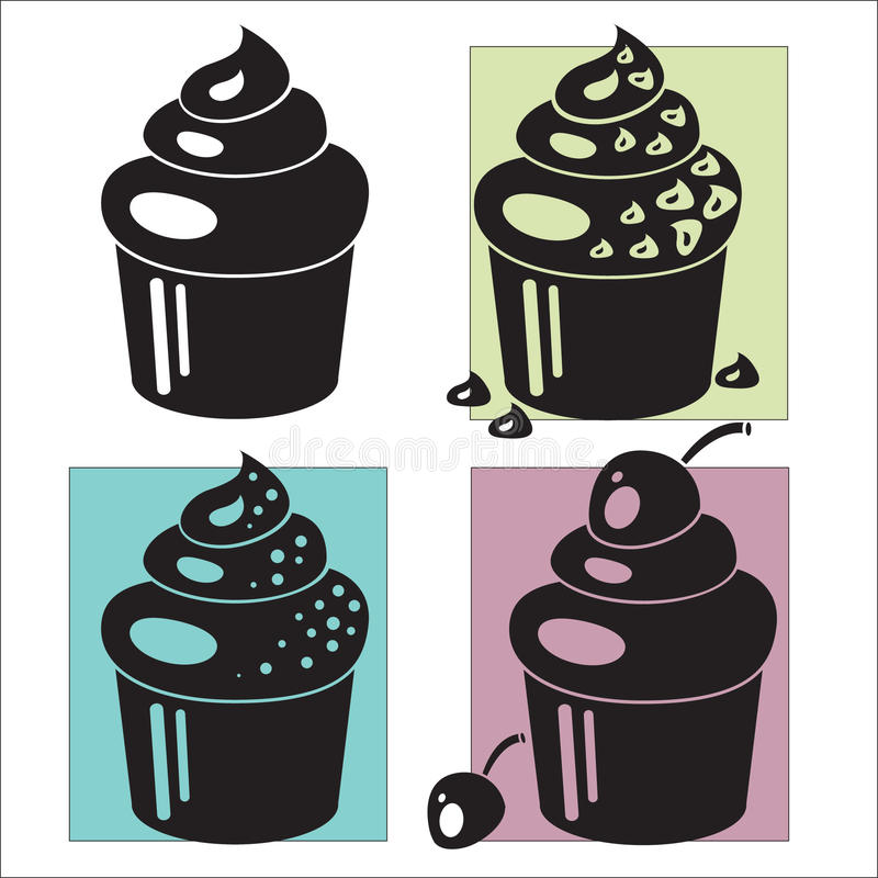 Cupcakes. Muffins. A set of different cupcakes/muffins with cherries, chocolate chips, sprinkles stock illustration
