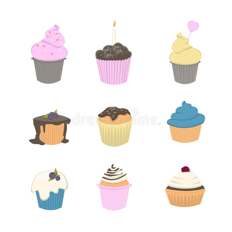 Cupcakes and muffins. Cupcakes and muffins set. Colorful and tasty cakes stock illustration